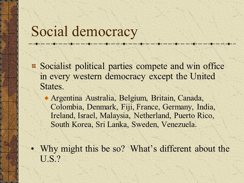 Social democracy Socialist political parties compete and win office in every western democracy except the United States.