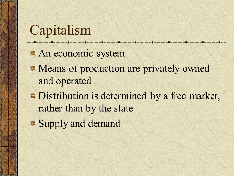 Capitalism An economic system