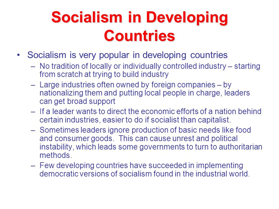 Socialism in Developing Countries