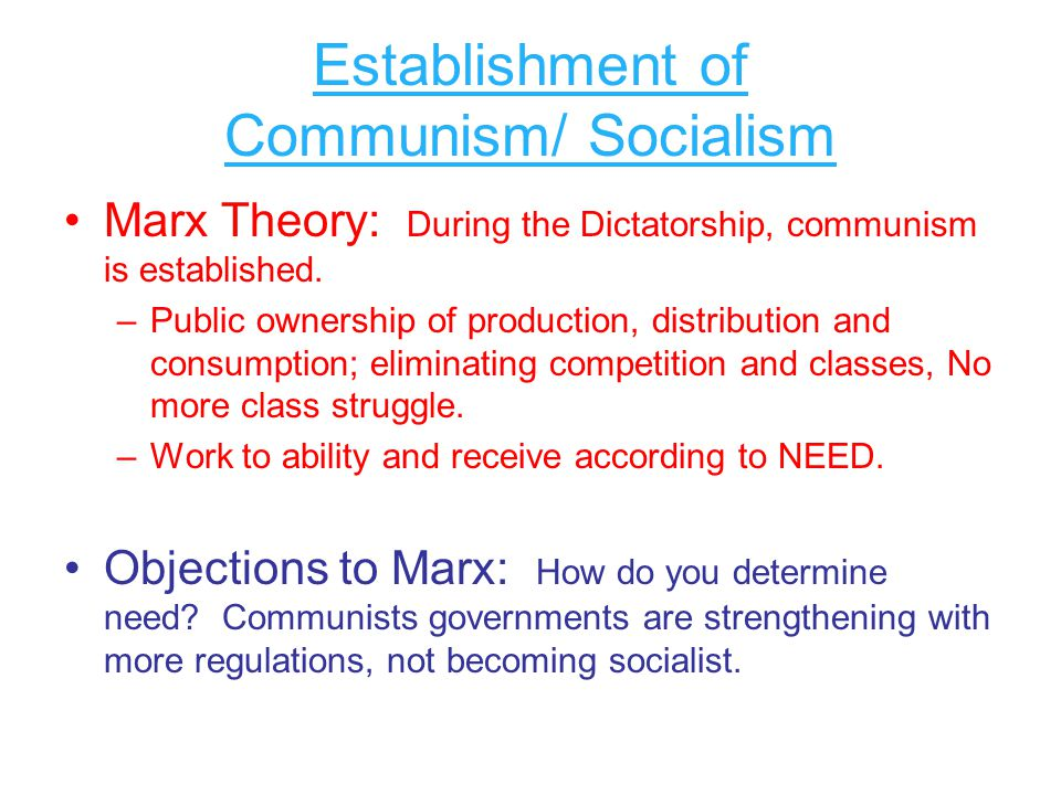 Establishment of Communism/ Socialism