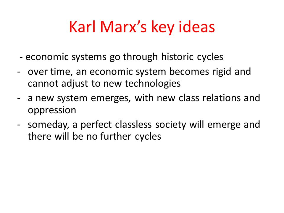 Karl Marx's key ideas - economic systems go through historic cycles