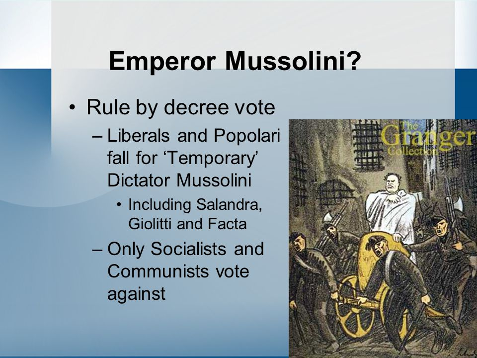Emperor Mussolini Rule by decree vote