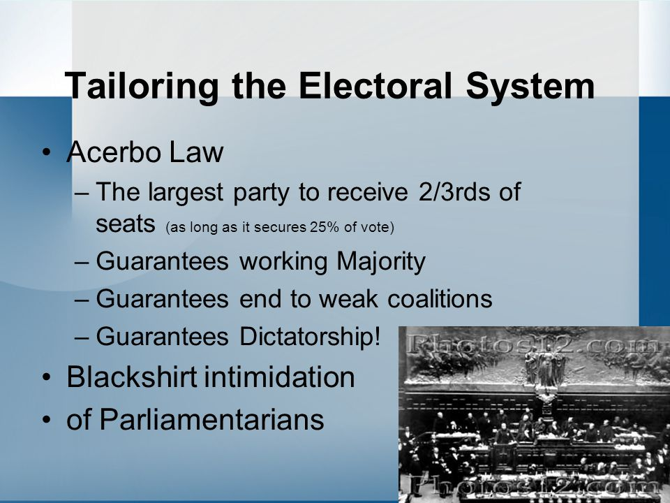 Tailoring the Electoral System