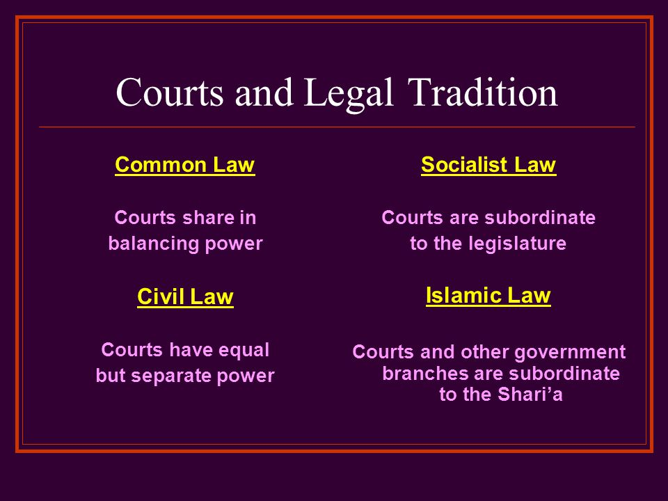 Courts and Legal Tradition