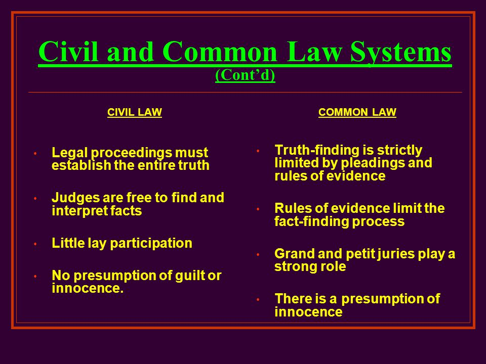 common and civil law legal systems Notes on civil law legal systems national laws have been set aside with crucial consequences for civil and common law legal traditions through mechanisms including.