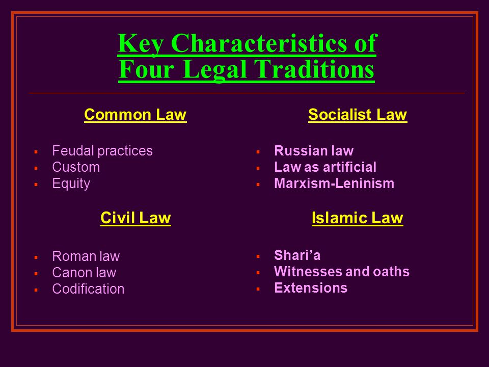 Key Characteristics of Four Legal Traditions