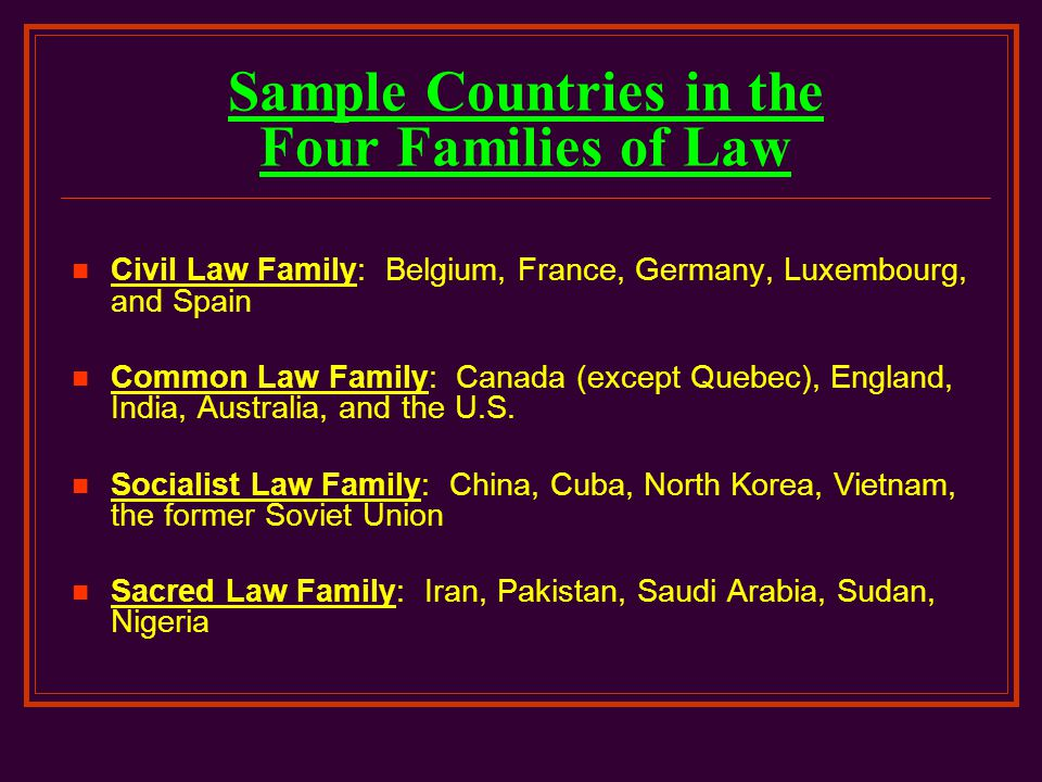 Sample Countries in the Four Families of Law
