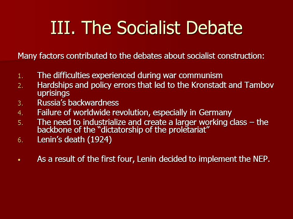 III. The Socialist Debate