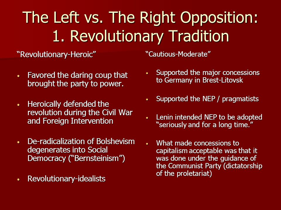 The Left vs. The Right Opposition: 1. Revolutionary Tradition