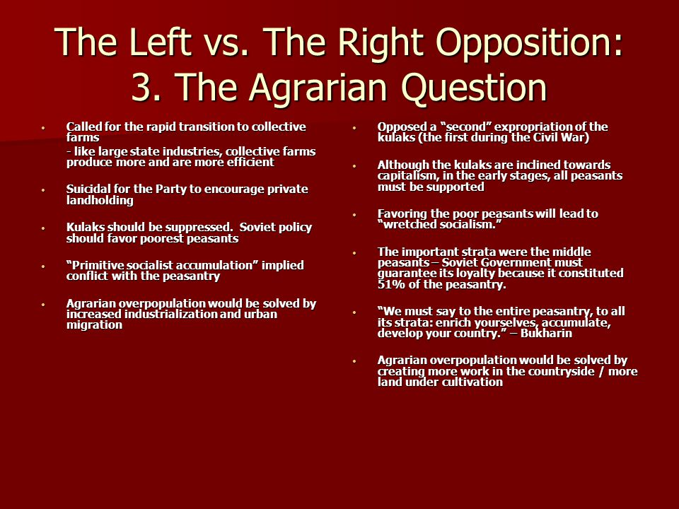 The Left vs. The Right Opposition: 3. The Agrarian Question