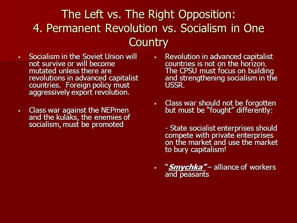 The Left vs. The Right Opposition: 4. Permanent Revolution vs