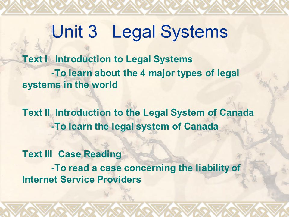 Unit 3 Legal Systems Text I Introduction to Legal Systems