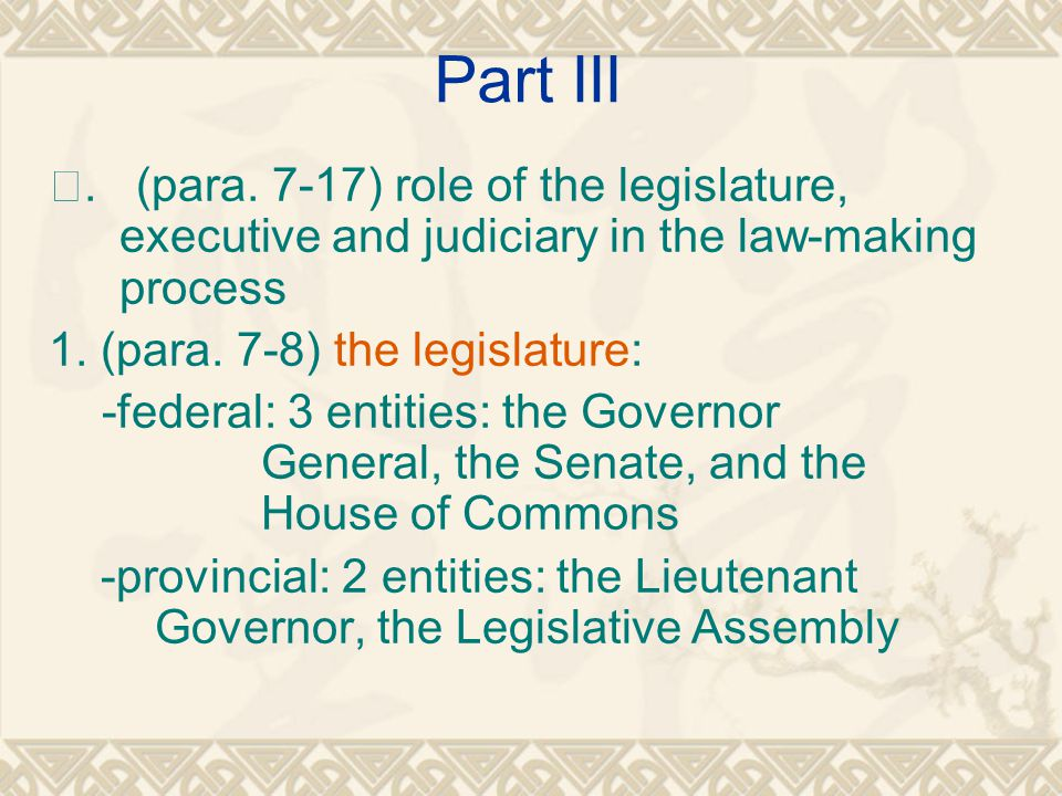 Part III Ⅲ. (para. 7-17) role of the legislature, executive and judiciary in the law-making process.