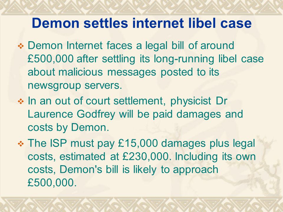 Demon settles internet libel case