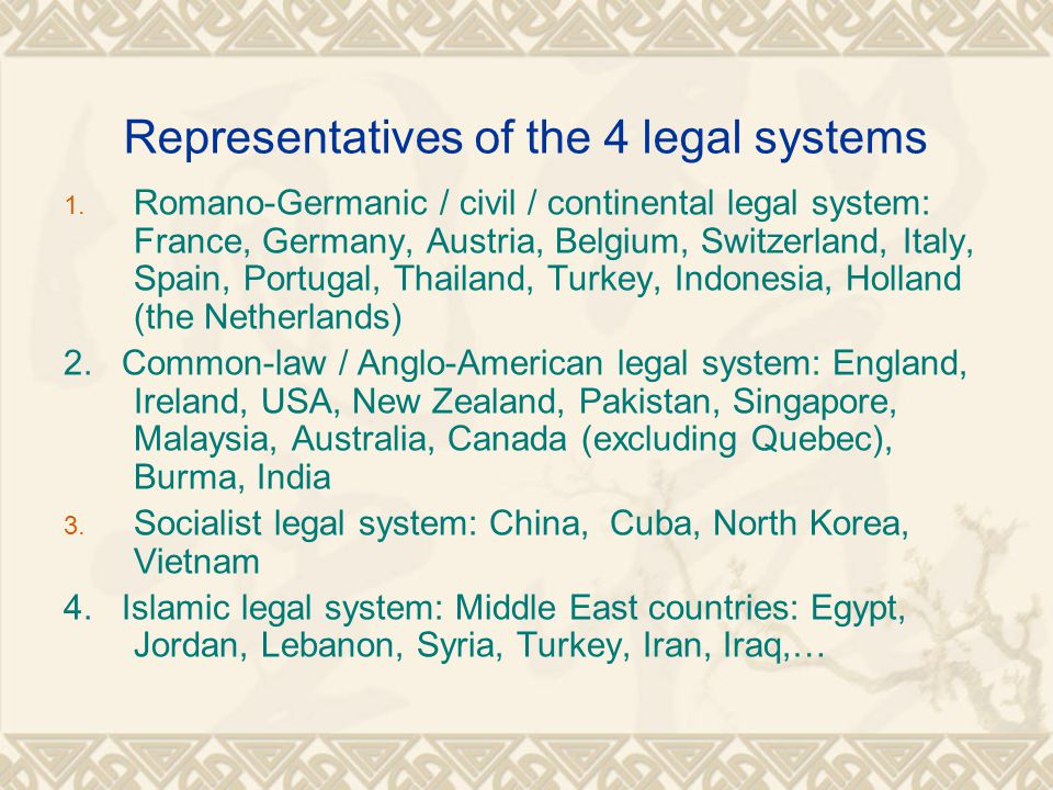 Representatives of the 4 legal systems