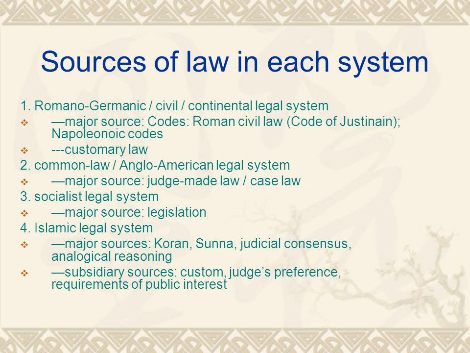Sources of law in each system