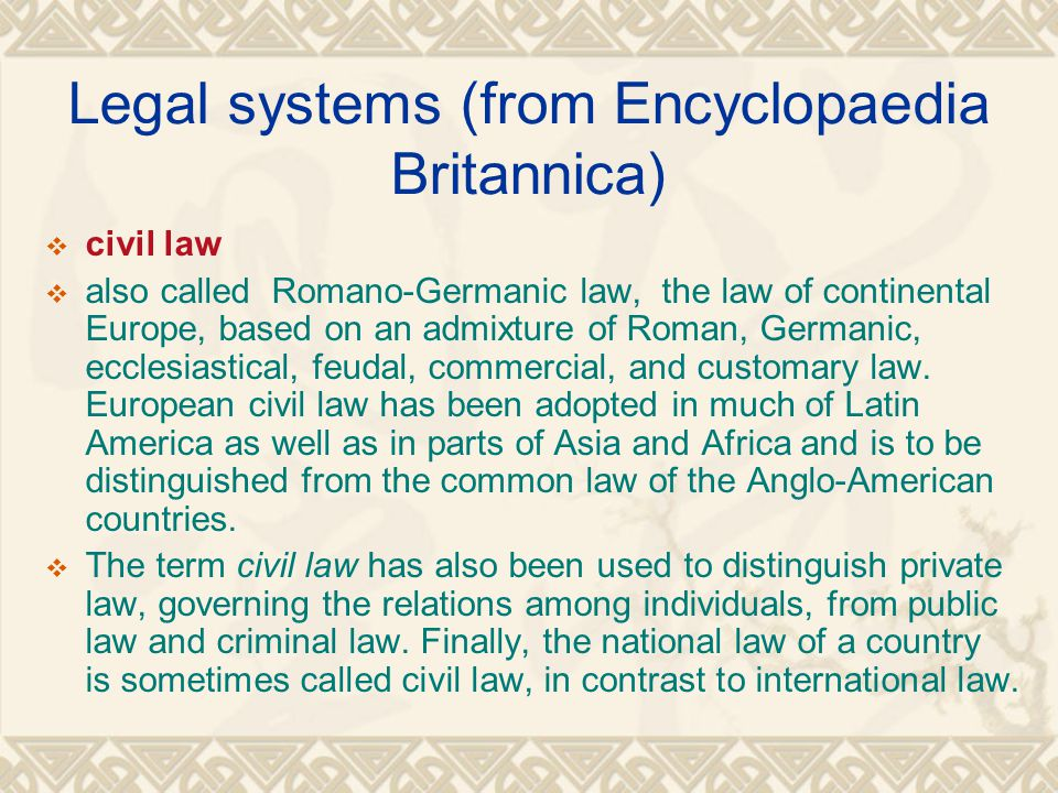Legal systems (from Encyclopaedia Britannica)