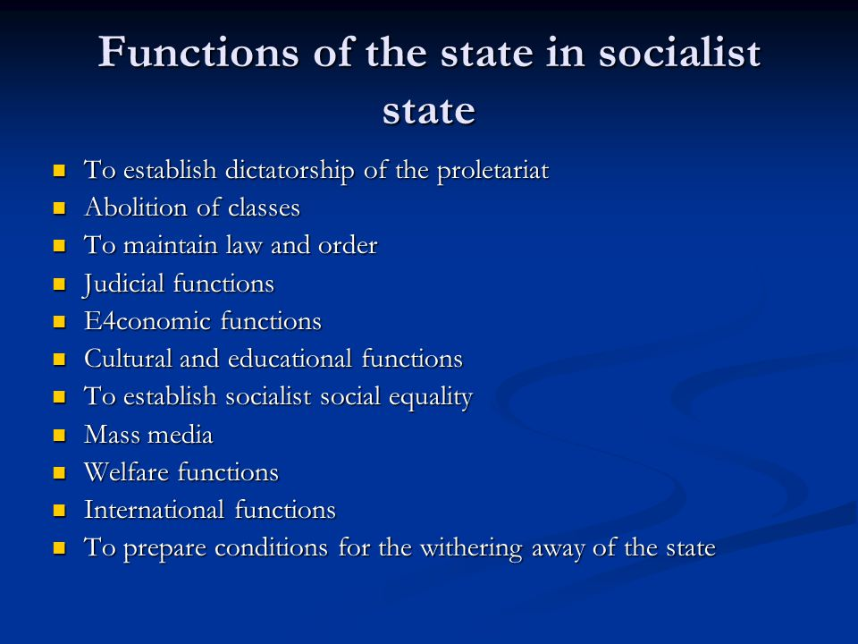 Functions of the state in socialist state