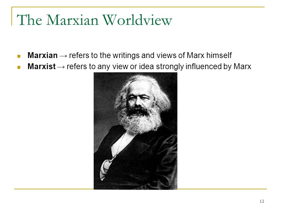 The Marxian Worldview Marxian → refers to the writings and views of Marx himself.