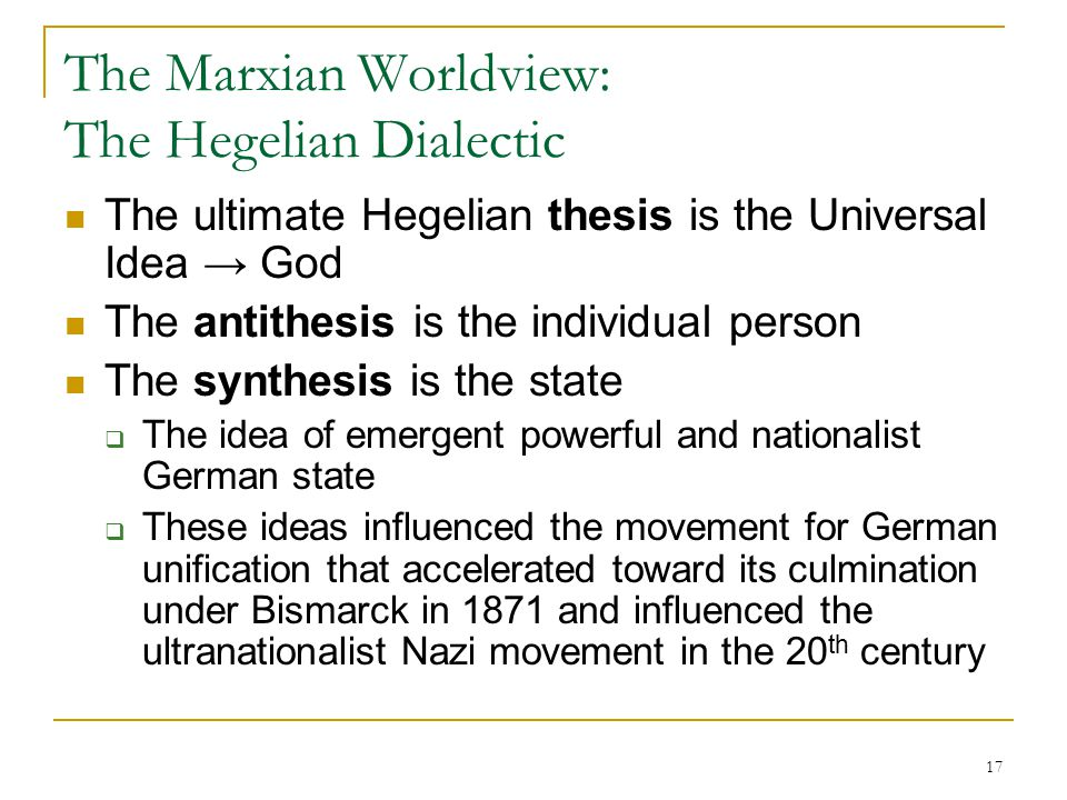 hegel dialectic thesis antithesis Hegel and the trinity thesis, antithesis  remembering that the christian trinity provides the underlying model for the hegelian dialectic will help us to.