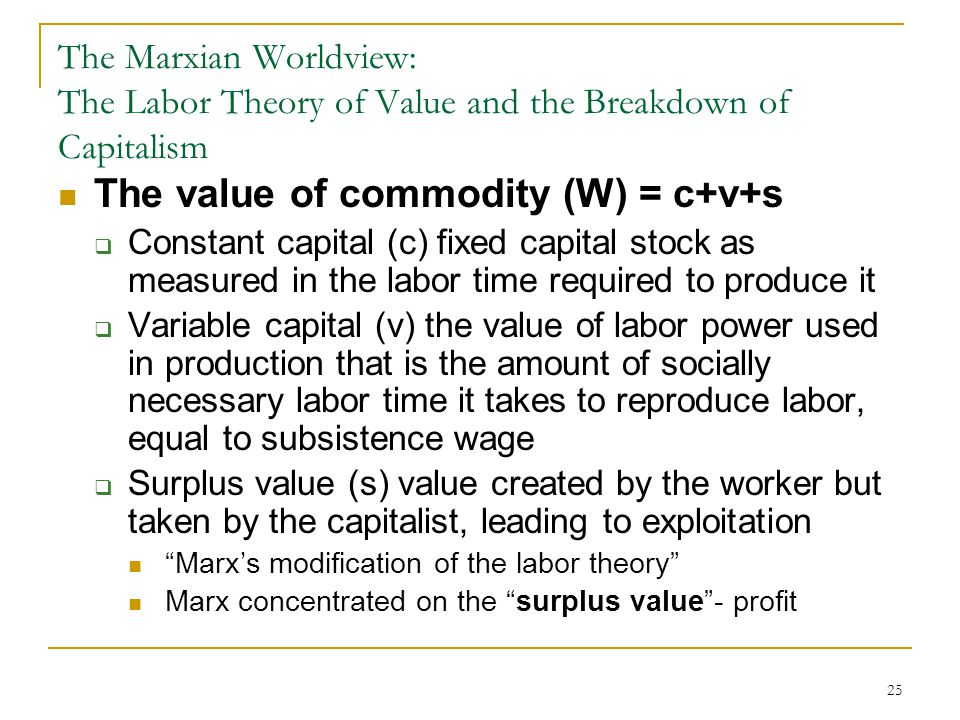 The value of commodity (W) = c+v+s