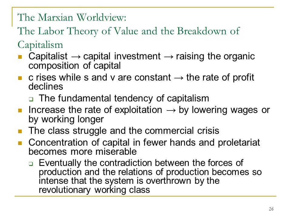The Marxian Worldview: The Labor Theory of Value and the Breakdown of Capitalism