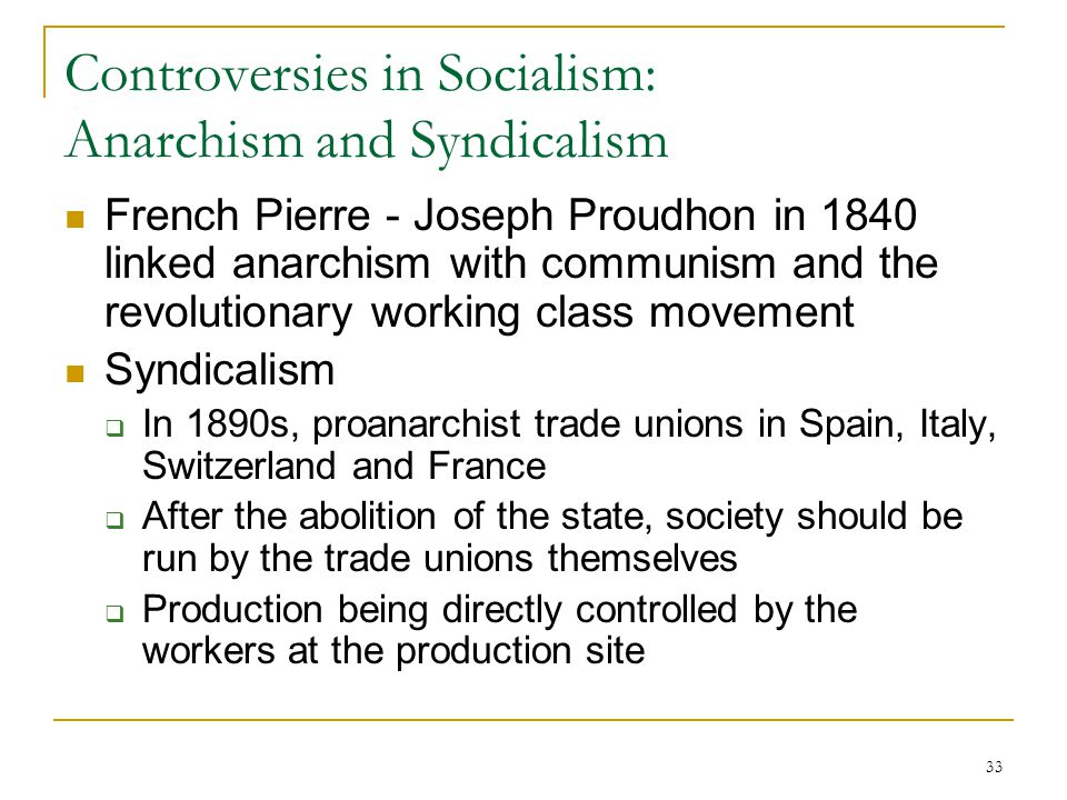 Controversies in Socialism: Anarchism and Syndicalism