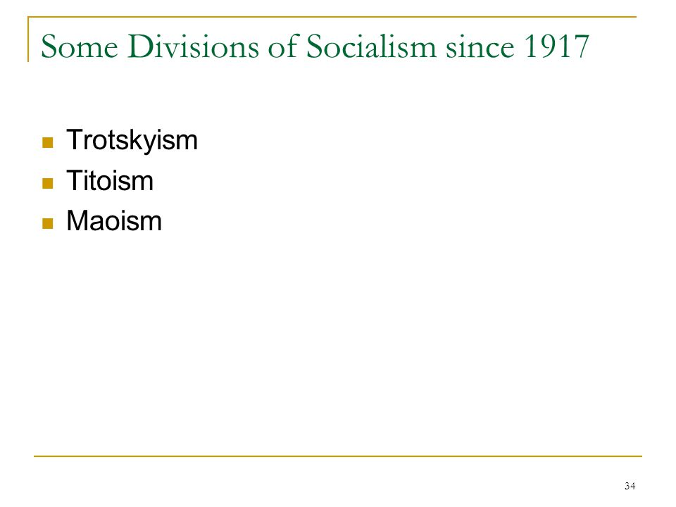 Some Divisions of Socialism since 1917