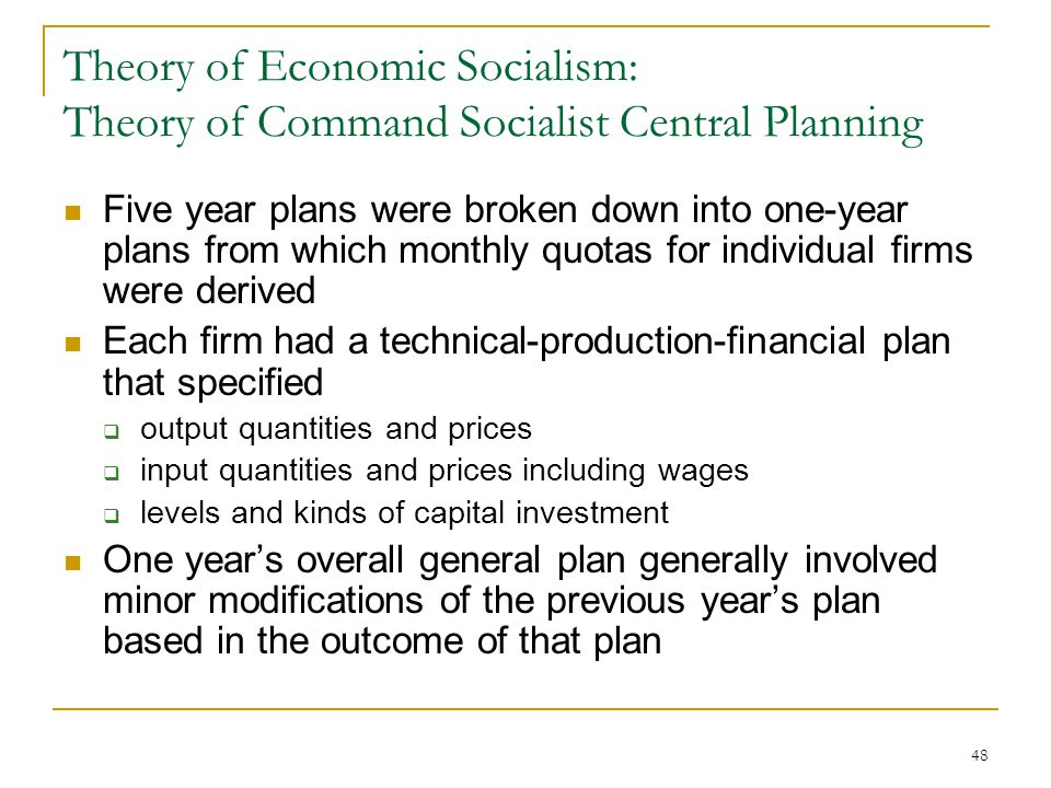 Theory of Economic Socialism: Theory of Command Socialist Central Planning