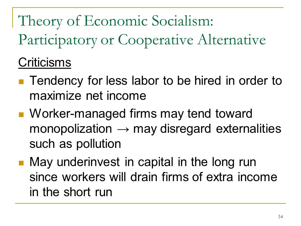 Theory of Economic Socialism: Participatory or Cooperative Alternative