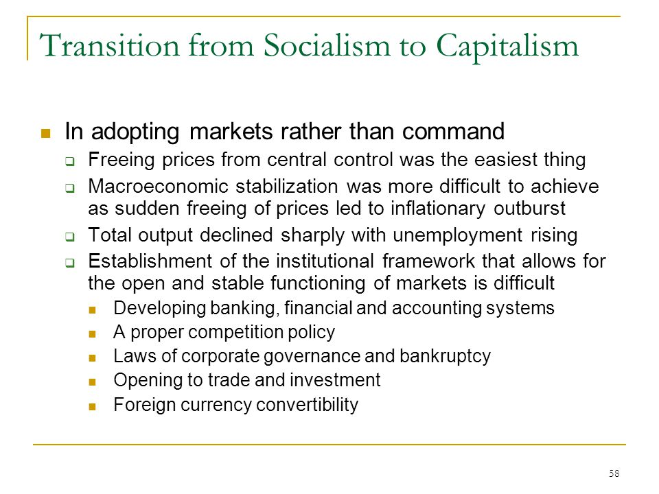 Transition from Socialism to Capitalism