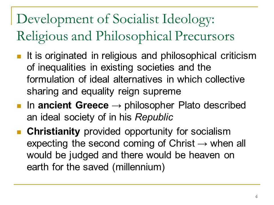 Development of Socialist Ideology: Religious and Philosophical Precursors