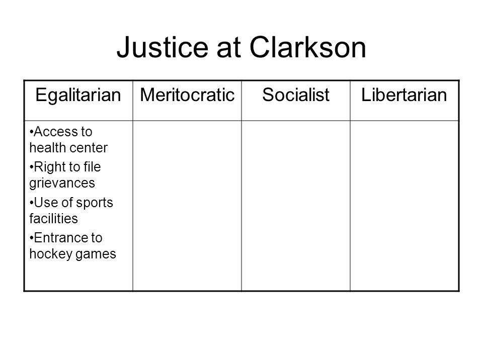 Justice at Clarkson Egalitarian Meritocratic Socialist Libertarian
