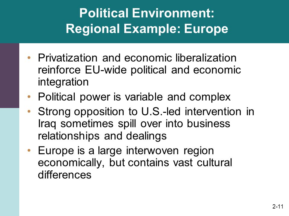 Political Environment: Regional Example: Europe