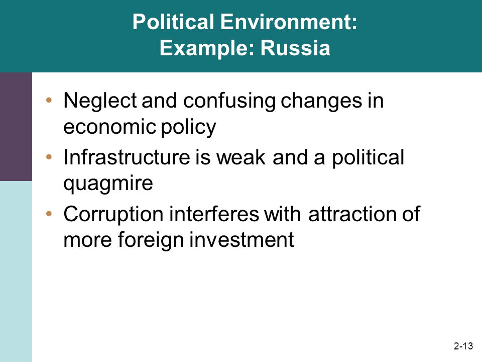 Political Environment: Example: Russia