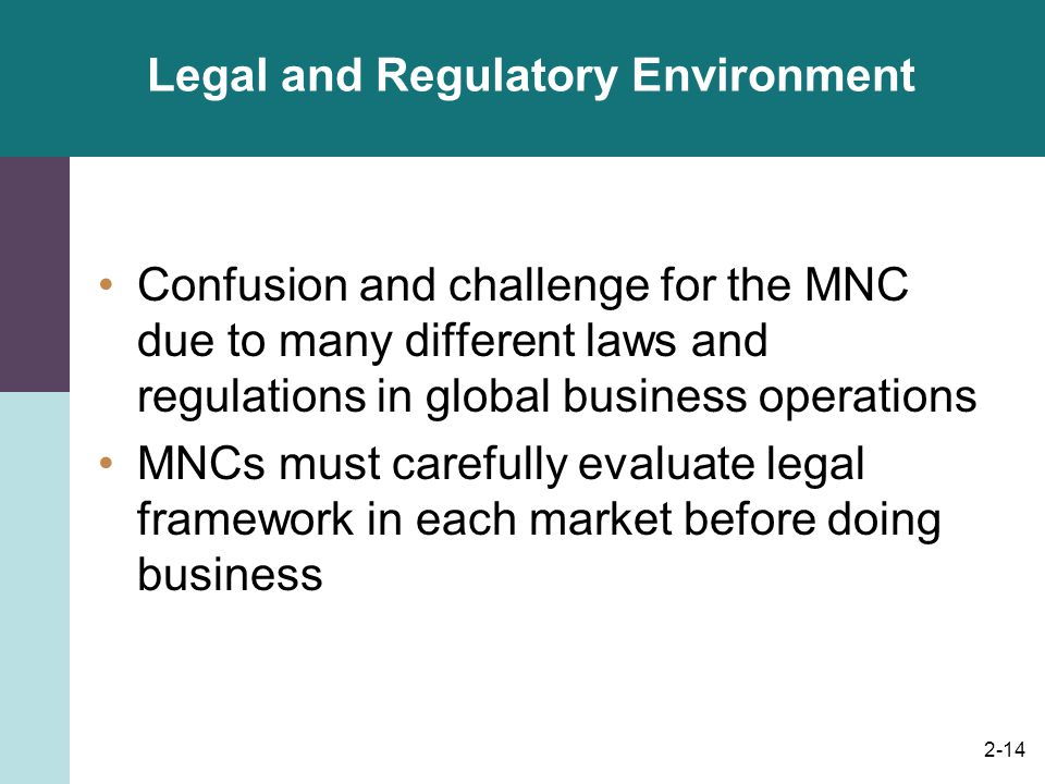 Legal and Regulatory Environment
