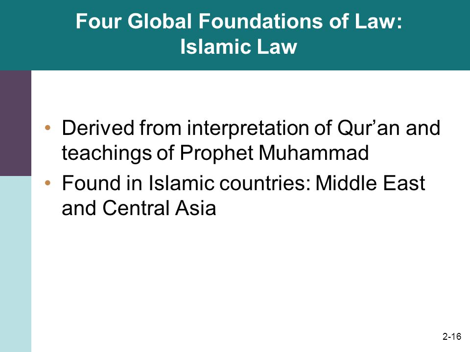 Four Global Foundations of Law: Islamic Law