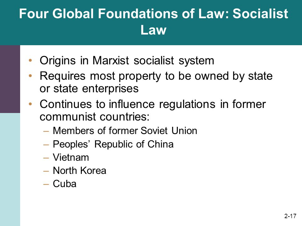 Four Global Foundations of Law: Socialist Law