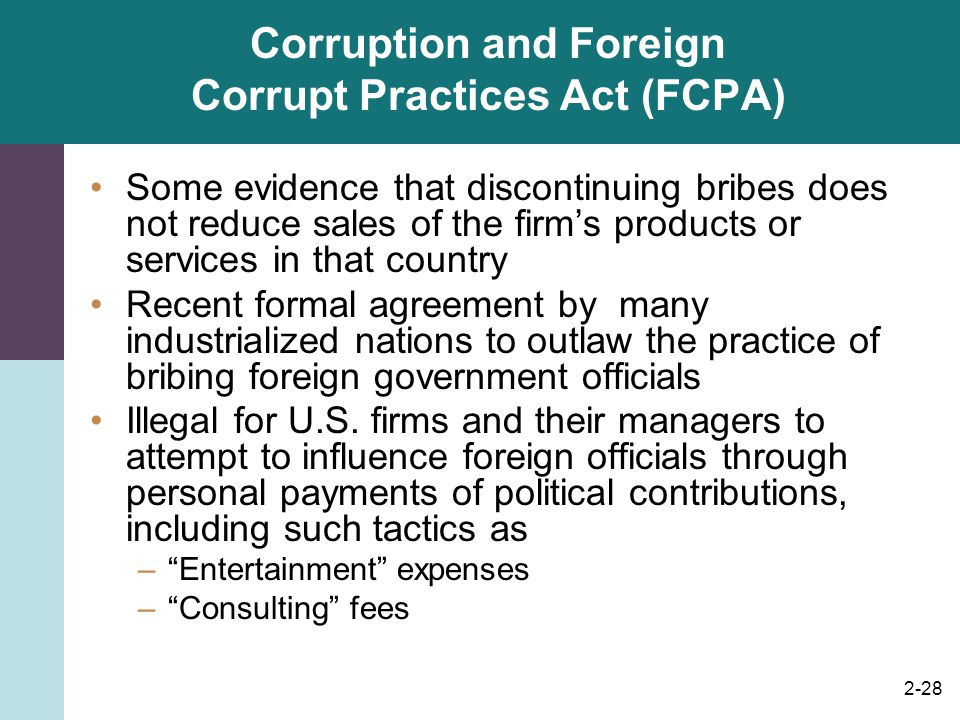 Corruption and Foreign Corrupt Practices Act (FCPA)