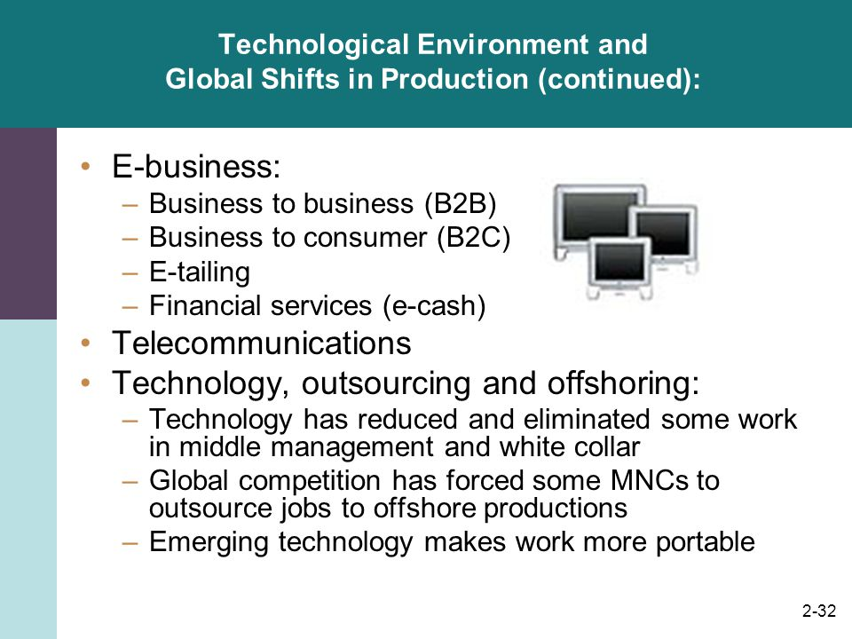 Technological Environment and Global Shifts in Production (continued):