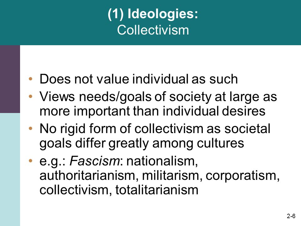 (1) Ideologies: Collectivism