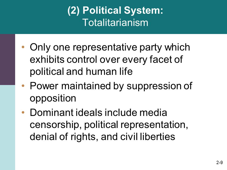 (2) Political System: Totalitarianism