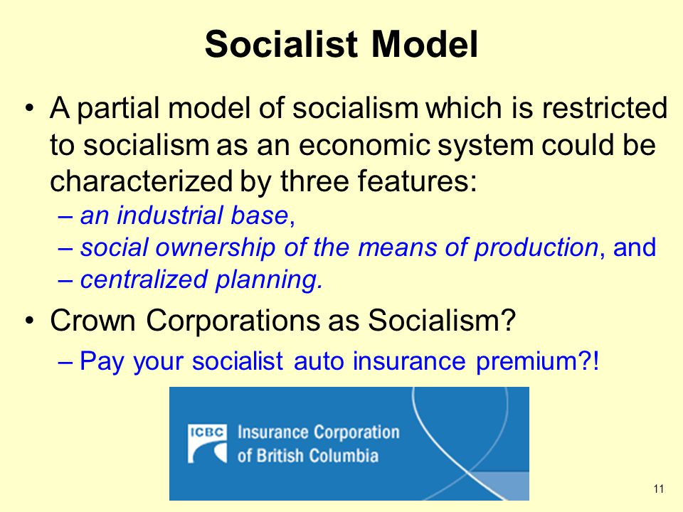 Socialist Model A partial model of socialism which is restricted to socialism as an economic system could be characterized by three features: