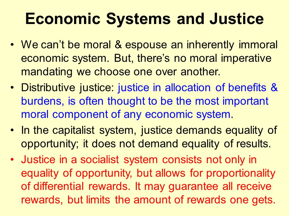 Economic Systems and Justice