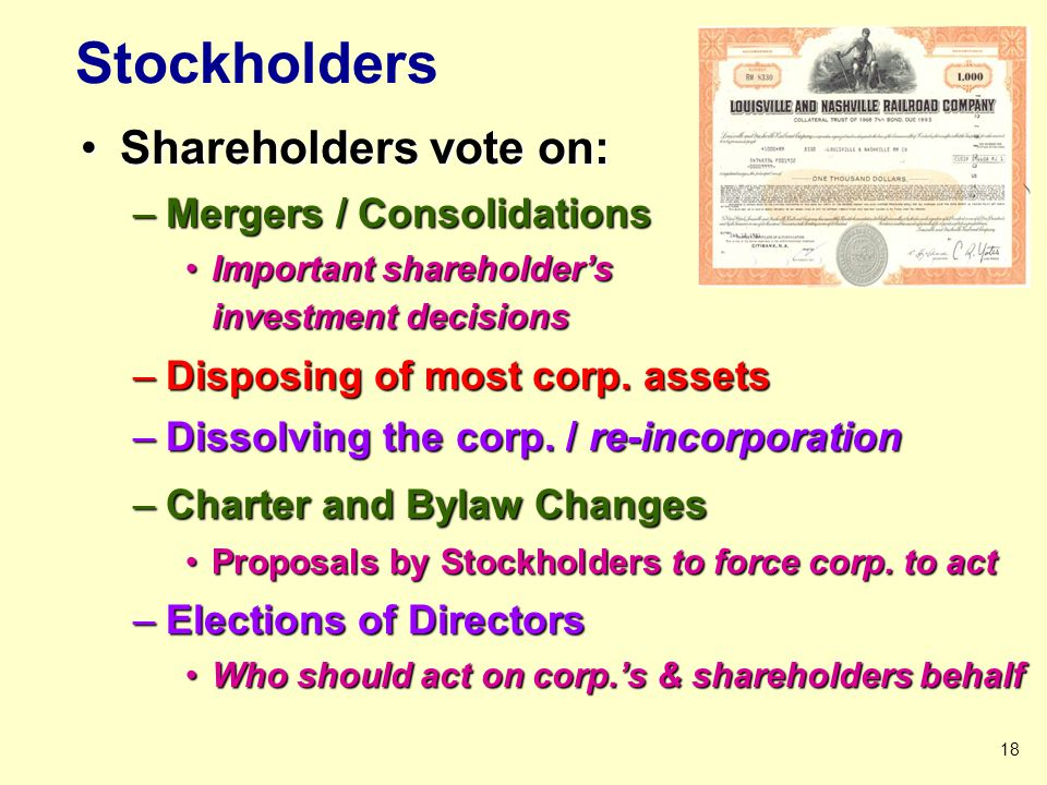 Stockholders Shareholders vote on: Mergers / Consolidations