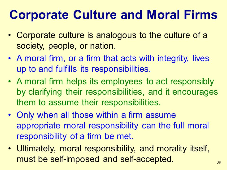Corporate Culture and Moral Firms
