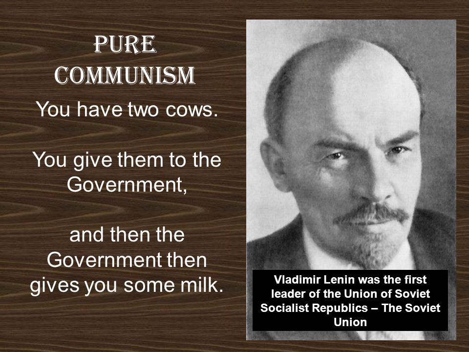 Pure COMMUNISM You have two cows. You give them to the Government,