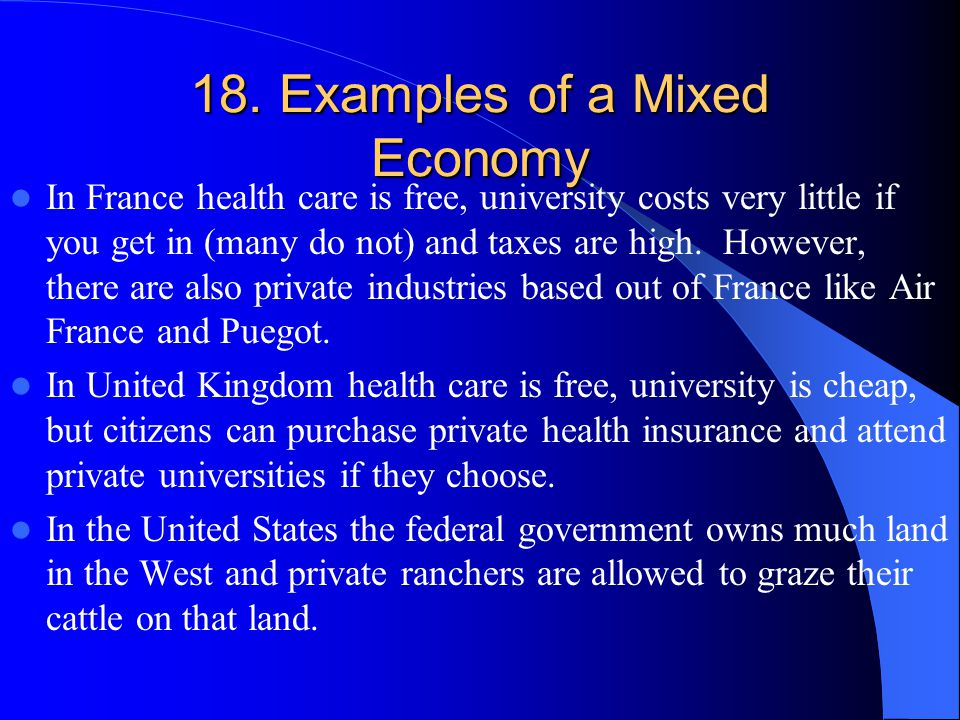 18. Examples of a Mixed Economy
