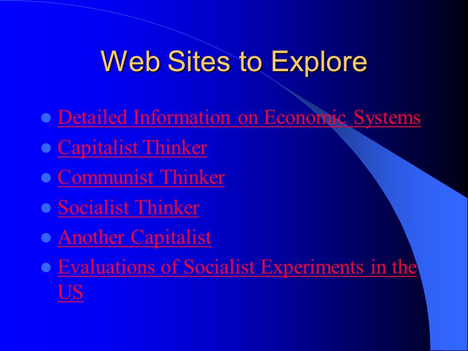 Web Sites to Explore Detailed Information on Economic Systems