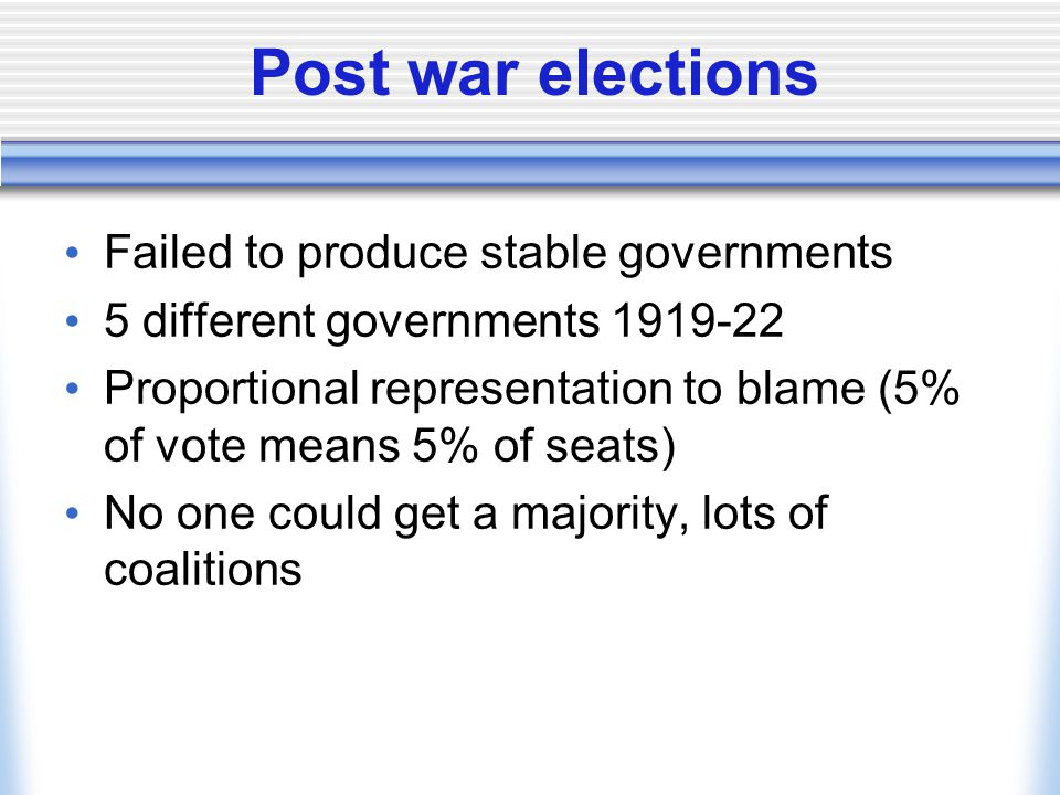 Post war elections Failed to produce stable governments